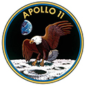 Apollo 11 mission patch, showing a bald eagle landing on the surface of the moon
