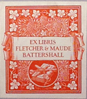 bookplate of Fletcher and Maude Battershall