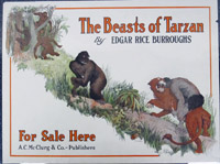 Poster advertising the book 'The Beasts of Tarzan' by Edgr Rice Burroughs.