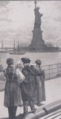 part of an 1887 illustration of immigrants on an ocean steamer passing the Statue of Liberty