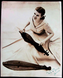 Folk musician Jean Ritchie, with two Appalachian dulcimers