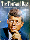 Cover of 'The Thousand days,' one of the books about John F. Kennedy in the exhibit.