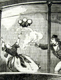 Part of an illustration from the National Police Gazette depicting a shooting.