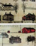 Drawings of Shaker buildings, from a book in the current Shaker display.