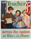 Poster of teacher with two students, labelled 'The Teacher serves the nation in war - in peace.'