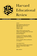 Cover of 'Harvard Educational Review' journal.