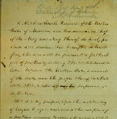 Photo of a page from the Emancipation Proclamation, hand-written by Abraham Lincoln.