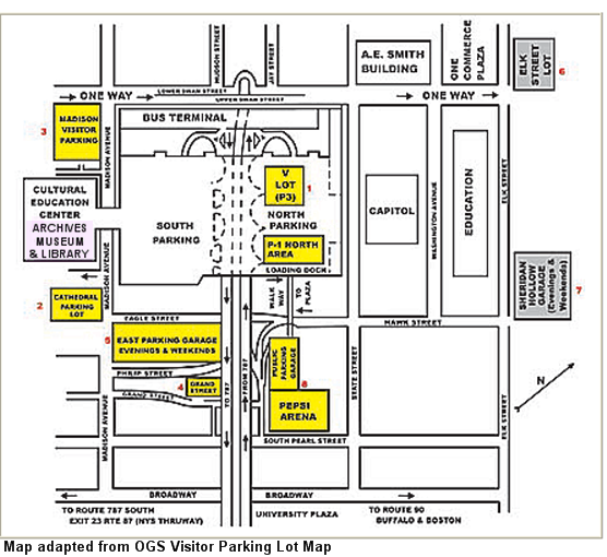 Map showing location of parking lots near the Cultuiral Education Center