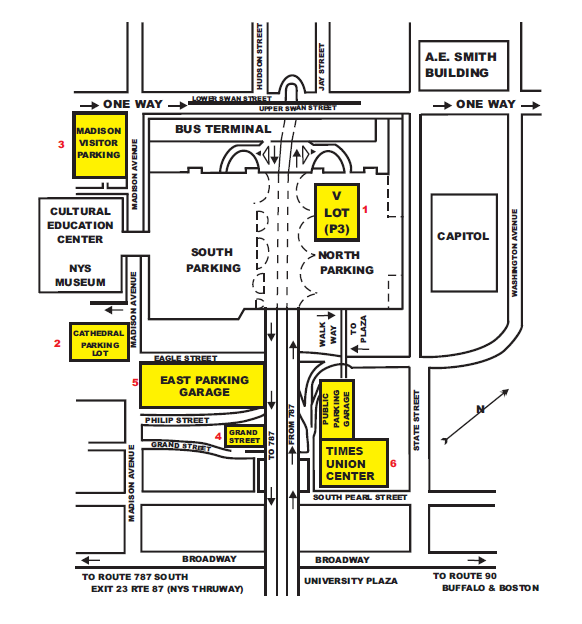 Map showing locations of parking lots near the Cultural Education Center.