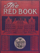Photo of the cover of the Red Book, showing a drawing of the State Capitol and the NYS seal.