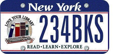 NY's 'Love Your Library' license plate; proceeds to benefit the Summer Reading Program.