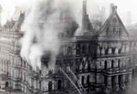 Capitol building on fire, 1911.