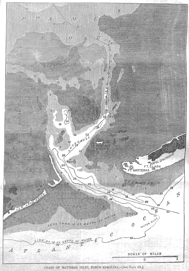Chart of Hatteras Inlet, NC: Battle of Roanoke Island