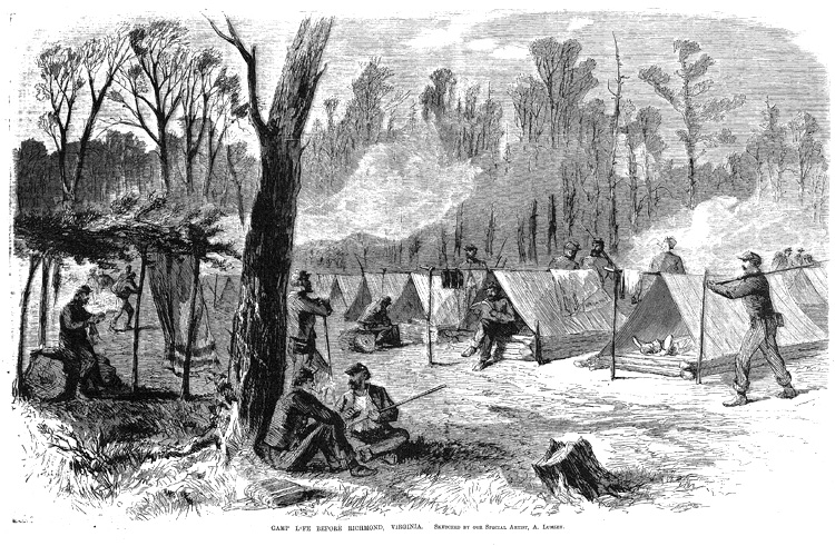 Black-and-white illustration from New York Illustrated News (July 5, 1862) showing Camp Life before Richmond, Virginia at the Battle at Fair Oaks (Seven Pines) during the American Civil War.