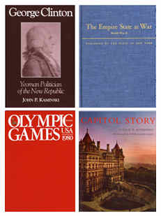 Covers of four publications: George Clinton; The Empire State at War; Olympic Games 1980; and Capitol Story