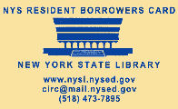 Image of NYSL borrower card, tan background with blue text, used by nys residents