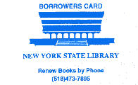 Image of NYSL borrower card, white background with blue print, used by NYS employees