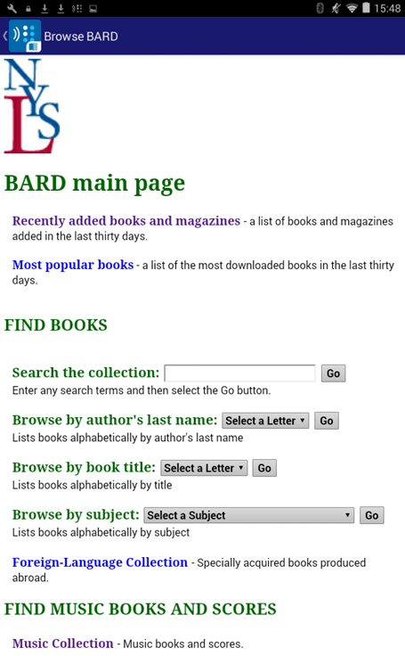 Android App: BARD: Talking Book and Braille Library: New York State