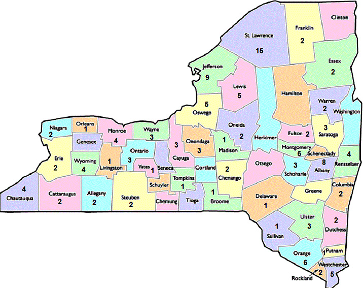 Participating Public Libraries By County Talking Book And - New york state map with counties